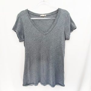 Sundry Gray Cotton Modal V-Neck Tee